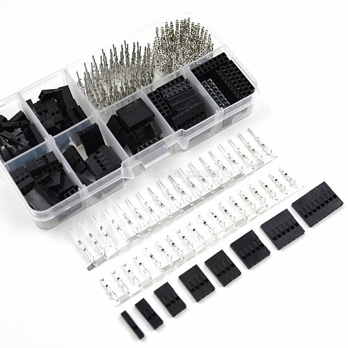 310pcs/Set Dupont Wire Jumper Pin Header Connector Housing Kit Male Crimp Pins+Female Pin Connector Terminal Pitch With Box