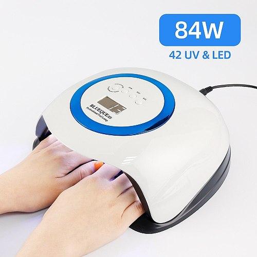 84W 42LED Lights High Power Nail Dryer Fast Drying LED Nail Lamp UV Gel Polish Curing Lamp Timer Smart Tow Hand Big Nail Lamp