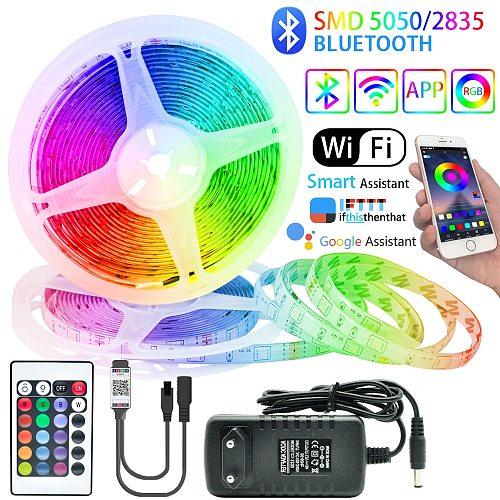 LED Strips Light Bluetooth RGB 5050/2835 Flexible Tape Luces Led Tape Diode 12V 5M-20M Decorative Backlight TV Computer Bedroom