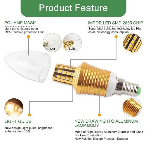Kaguyahime 3w~12w Candle LED Bulb E14 Golden Aluminum 9W 12W LED Light 220V Led Lamp Cool Warm White Lampada Bombillas Lampara
