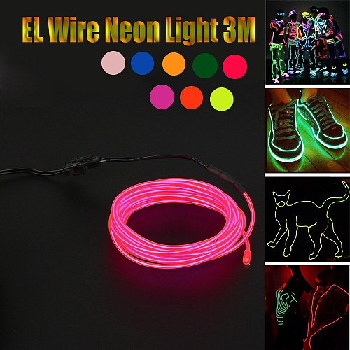 EL Wire Neon Light LED String 2M 3M 5M Waterproof Led Lights Party Decoration Flexible Rope Tube for Holiday 10 Color
