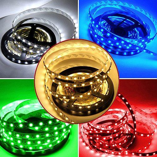 New SMD 2835 DC12V RGB LED Strip Light 5M 60leds/M NO Waterproof LED Light RGB Leds tape Flexible  diode ribbon Warm White/RGB
