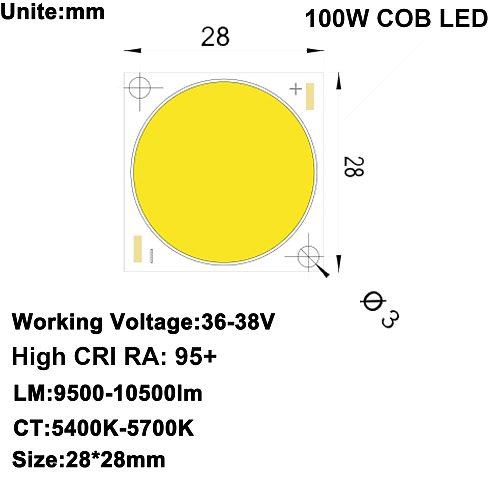 DIY LED U-HOME High CRI 95+ COB LED Daylight White DC36-38V 2.5A 100W 10000LM for DIY FLash Light/DIY Home Cinema Projector