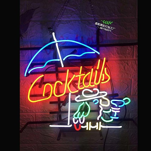 Cocktail Neon Sign Light Party Pub Wall Decor Real Glass Tube Artwork