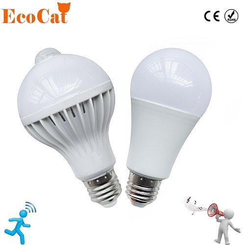 LED PIR Motion Sensor Lamp 5w 220v Led Bulb 7w 9w 12w Auto Smart Led PIR Infrared Body Sound + Light E27 Motion Sensor Light