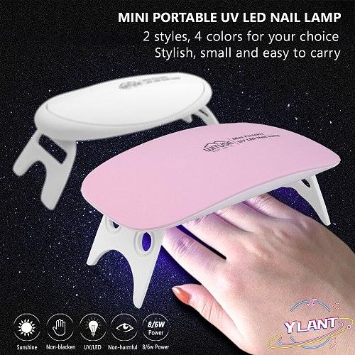 2021 NEW 3color Portable 6W Nail Dryer Machine 6 8 LED UV Lamp Micro USB Cable Home Use Nail UV Gel Varnish Dryer Nail Art Tools