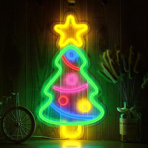 Christmas Tree Rainbow Neon LED Rainbow Light Lamp for bar Decor Rainbow Decor Neon Lamp Wall Decor Christmas Neon Bulb Tube