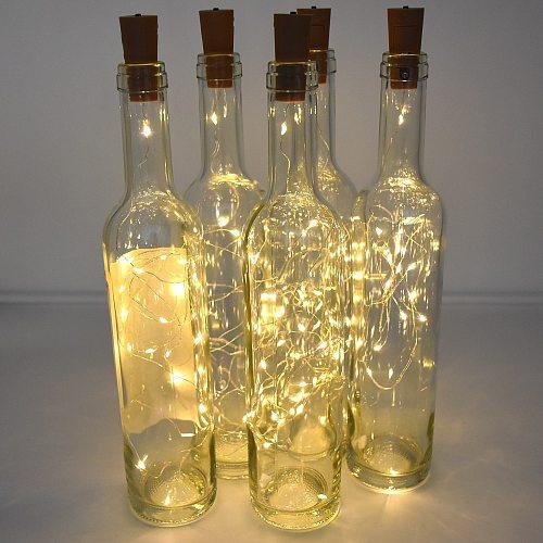 Battery powered cork wine bottle light 1m / 2m DIY LED string light bar light birthday party wine bottle stopper light strip