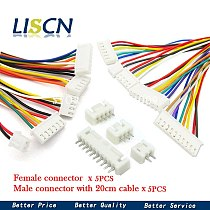 5Sets JST XH2.54 XH 2.54mm Wire Cable Connector 2/3/4/5/6/7/8/9/10 Pin Pitch Male Female Plug Socket 20cm Wire Length 26AWG