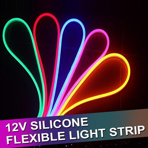 1/2/3/4/5M Round LED Flexible Strip Light DC 12V SMD 2835 LED Neon Flex Tube Outdoor Waterproof Rope String Lamp 12W/M
