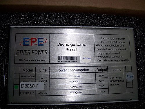 Electronic metal halide lamp ballast 575W and ignitor EP8575AC-F1