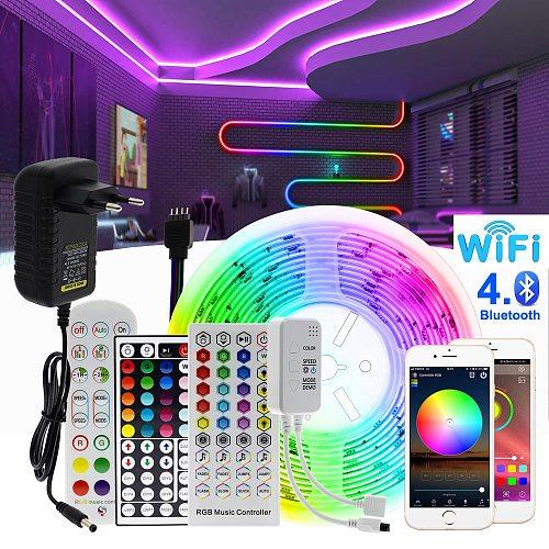 RGB LED Strip Light 5050 2835 Flexible LED Light Strip 10M 15M 20M 12V RGB LED Tape Set wiht Wifi / Bluetooth Music Controller