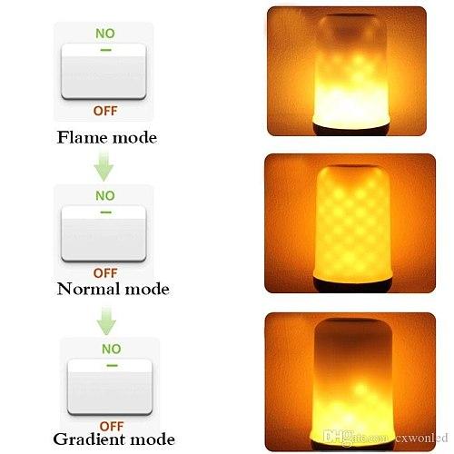 LED E27 Flame Lamps 15W 85-265V 4 Modes Ampoule LED Flame Effect Light Bulb Flickering Emulation Fire Light