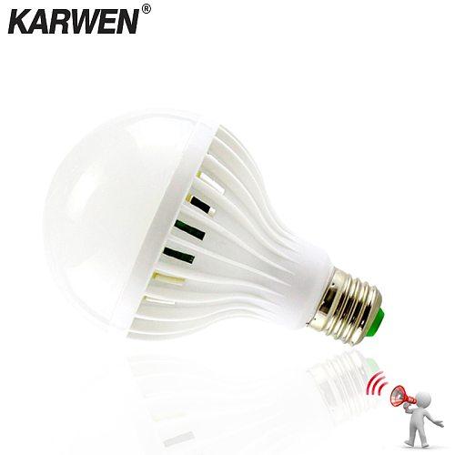KARWEN Sound Motion Sensor Automatic Smart LED Bulb E27 220V 110V SMD5730 3W 5W 7W 9W 12W Lampada LED Sound Sensor lamp