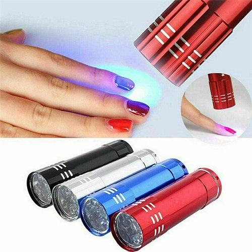 Mini Led UV Nail Dryer Gel Curing Lamp Light Machine Ladies Dryer Fast Cure Nail Flashlight Torches 9 LEDs 4 Colors Portable