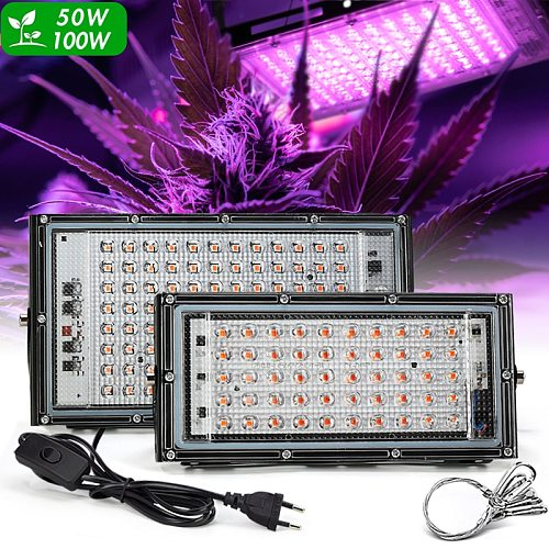 LED Grow Light Full Spectrum Light 220V 50W 100W With EU Plug Led Grow lamps For Greenhouse Hydroponic Flower Seeding Phyto Lamp
