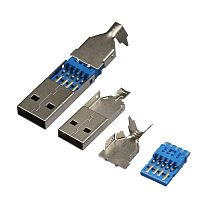 10pcs/lot DIY USB 3.0 male connector jack soldering type socket 3 in 1 for DIY USB 3.0 Cable