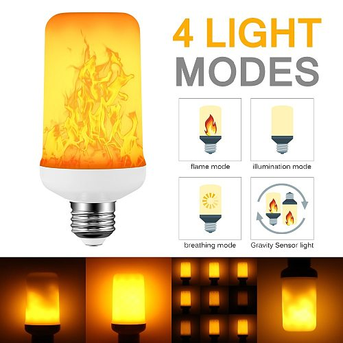 Creative 4 modes+Gravity Sensor Flame Lights E27 E26 E14 LED Flame Effect Fire Light Bulb 9W 12W Flickering Emulation Decor Lamp