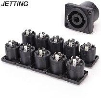 10pcs/lot  4 Pin Speakon Female Jack Socket Connector Audio Loudspeaker Amplifier Converter for PA Amplifier Cable