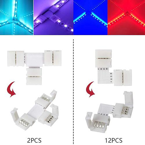 95pcs 5050 4-pin LED Strip Connector Kit with T-Shaped L-Shaped Connectors Strip Jumpers Strip Clips