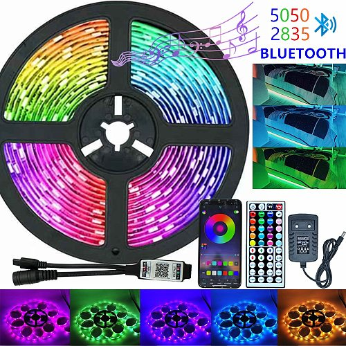 Infrared/Bluetooth/WiFi LED Strip Lights RGB 5050 2835 Flexible Lamp Tape Ribbon With Diode DC 12V 5M 10M Remote Control+Adapter