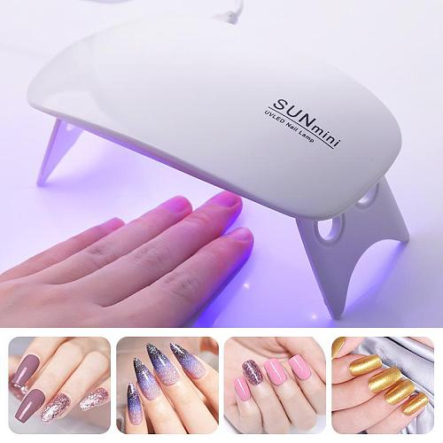 6W Nail Dryer Mini LED Uv Lamp Portable Gel Lamp Professional Nail Dryer Lamp Nail Art Polish Light Manicure Machine Tool