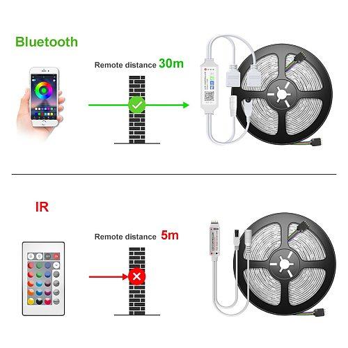 5050 LED Strip Light 20M-5M Bluetooth RGB 2835 SMD Flexible Ribbon led light strip RGB Tape Diode DC 12V Music Bluetooth Control