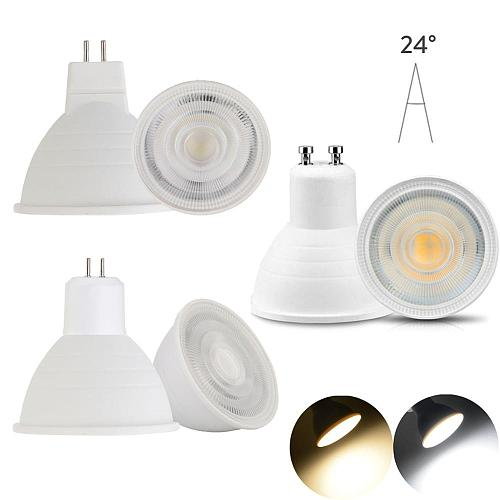 10X LED Bulb Spotlight Dimmable GU10 MR16 5W COB Chip 24 Degree Chandelier LED Lamp For Downlight Table Light AC 110v 220V