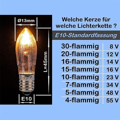 10pcs 3W Warm Light Glass Bulbs Tapered Candles E10 LED Replacement Bulbs For Lights Candle Arch 8V 12V 14V 16V 23V 34V 48V 55V