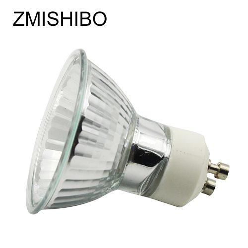 ZMISHIBO 10Pcs/Lot Halogen GU10 Bulb 220V 35W 50W Diameter 50MM MR16 Clear Glass With Cover Dimmable Warm White 2700K Spot Lamp
