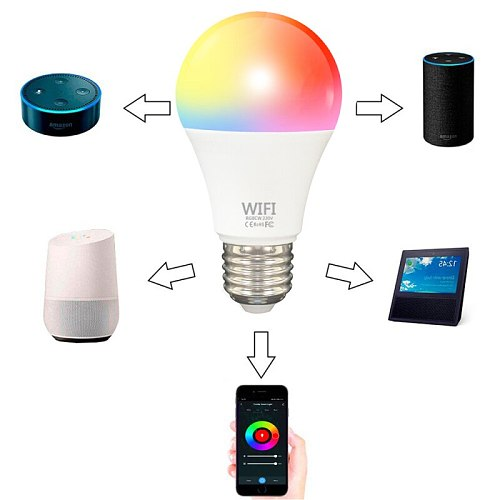 9W Wifi Smart Bulb E27 B22 22LED Dimming Light Bulb RGBCW  Neon Lamp Smart Voice Control Work With Alexa Google Home