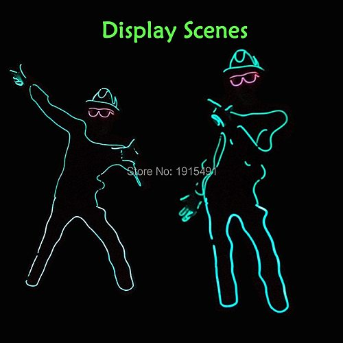 Neon Led Bulbs Night Lamp Gorgeours Paper Form Person with Hat DIY Funny Light Up EL Wire Clothes for Dark in Glow Party Props