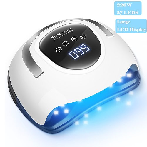220W UV LED Lamp Nail Drying Lamp for All Nail Polish 57 Pcs LEDs Lamp for nails 4 Timer With Auto sensing LCD Digital Display