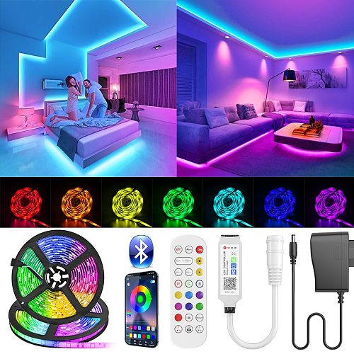 Bluetooth LED Strip Light SMD 5050 RGB led ribbon Flexible Waterproof LED Light 2.5M-30M Tape Diode DC 12V Power + Controller