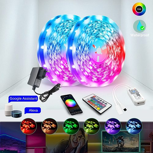 RGB LED Strip 15M Led Light Tape 5050 SMD 2835 5M 10M DC 12V Waterproof LED lamp Flexible Ribbon + IR WiFi Controller+Adapter EU
