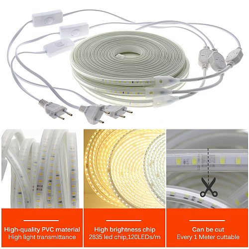 220V LED Strip 120LEDs 8W/m with EU Plug and Switch Not Dazzling Flexible LED Light Waterproof Outdoor Use LED Tape