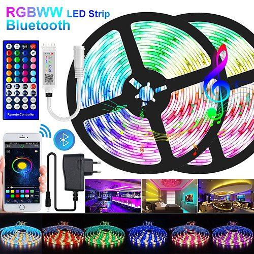 5M-30M LED Strip Light Bluetooth RGBWW SMD 5050 LED Lights DC12V RGB Led tape diode ribbon Flexible APP Phone Control+adapter