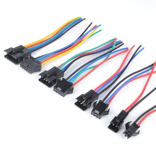 10 pcs /5Pairs 20cm Long JST SM 2Pins 2.54MM Plug Male to Female Wire Connector cable pigtail Plug LED Connecting line