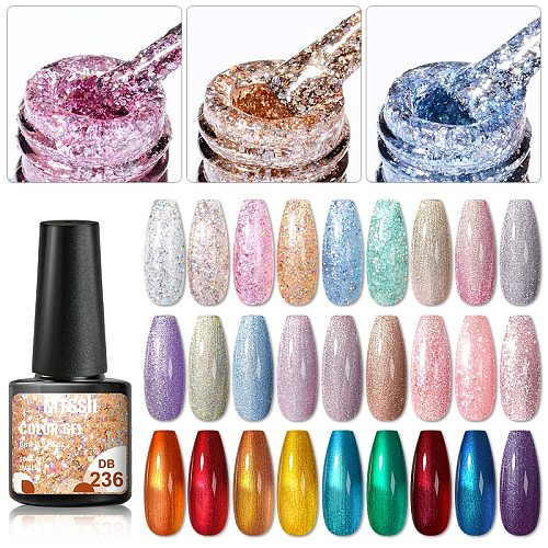 Mtssii 6ml Gel Nail Polish Semi Permanent Winter Color Series Glitter Gel UV Led Lamp Polish Extension For Nails Manicure Set