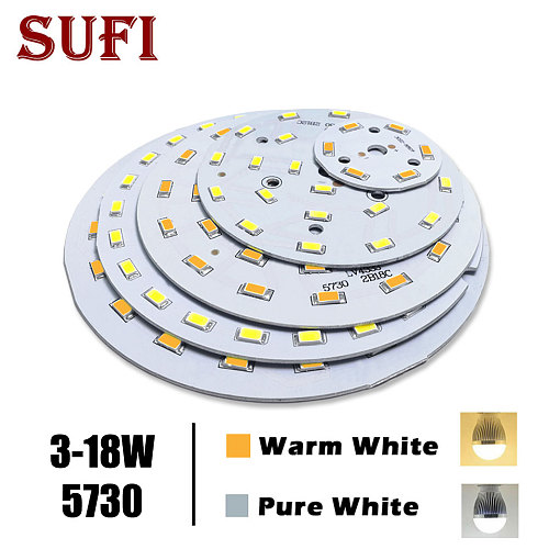 free shipping 3W 5W 7W 9W 12W 18W 5730 Brightness SMD Light Board Lamp Panel For 3 5 7 9 12 18W LED Bulb Ceiling PCB With LED