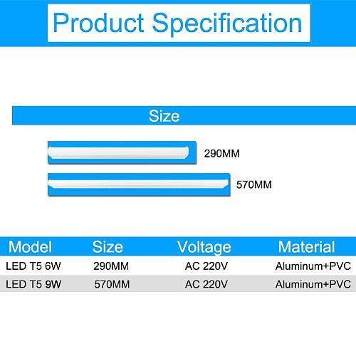 GreenEye 5pcs/lot Integrated LED T5 Light 220v 0.3m 6W / 0.6m 9W Tube Lamp T5 LED Cold White Warm Fluorescent Lights Neon 9W