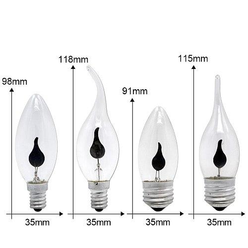 E14 E27 LED Flame Lamp Vintage Flame Effect Fire Light Bulb Flickering Emulation 3W AC 220V Tail Retro Decor Led Candle Bulb