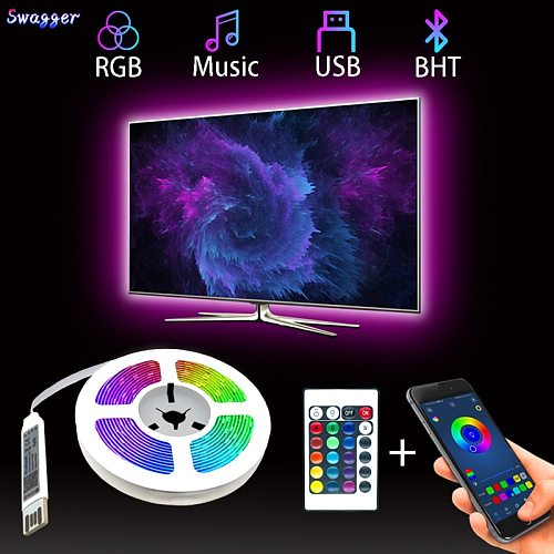 LED Strip Light Bluetooth Flexible Lamp 1M 2M 3M 4M 5M Tape Diode SMD5050 DC5V Desk Screen TV Background Room Lighting USB Cable