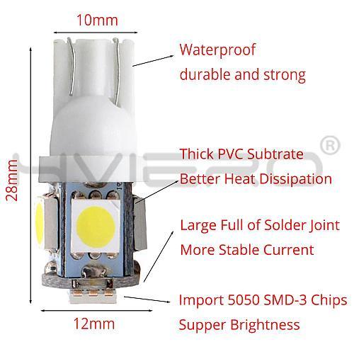 10X  5050 5SMD Auto Led Auto Lamp Interior Lights 168 194 LED DC 12V License Plate Bulbs Clearance Lamps 5led Marker Led Cob led