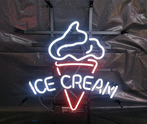 """14""""x10  Ice Cream Cane Open Neon Light Lamp Sign Beer Bar Handmade Real Glass Decorate Home Wall Room Windows Tube Artwork"""