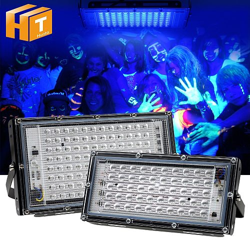UV LED Floodlight 50W 100W Ultraviolet light 395nm Lamp 220V Fluorescent Bulb Black Light for Halloween Party prom Haunted house