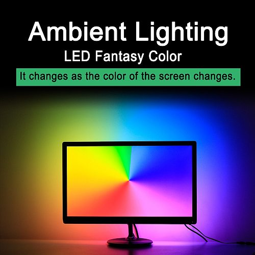 Easy DIY Ambient Computer Desktop PC Screen Backlight lighting RGB USB WS2812B LED Strip Light 1M 2M 3M 4M 5M Full Kit