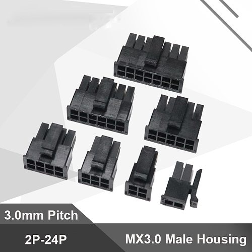 10pcs Micro-Fit 3.0 Connector 3.0mm Pitch Male Housing 2P 4P 6P 8P 10P 12 16P 18P 20P 24Pin Mini 5557 Male Shell