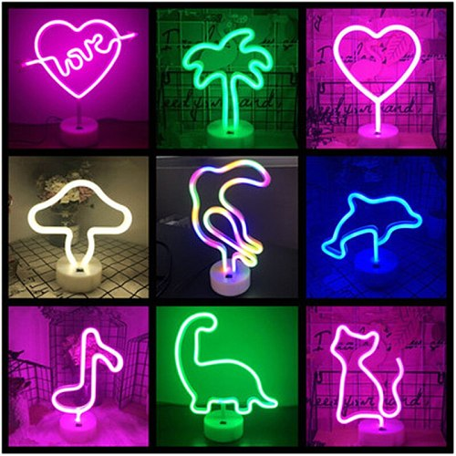 LED Neon Sign Unicorn Flamingo Shaped Night Light Decorative Table Lamp for Home Party Living Room Xmas Gift Neon Sign Lights
