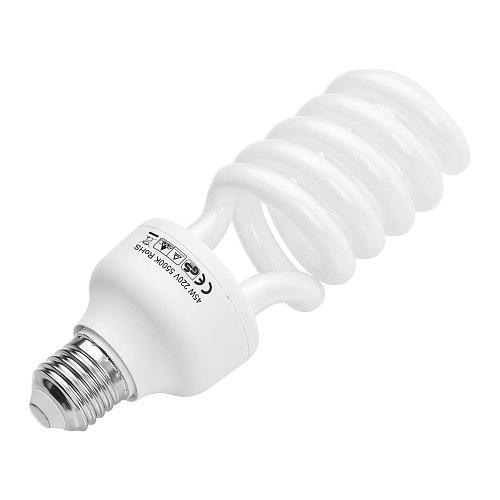 Spiral Fluorescent Light Bulb 45W 5500K Daylight E27 Socket Energy Saving for Studio Photography Video Lighting 110V/120V